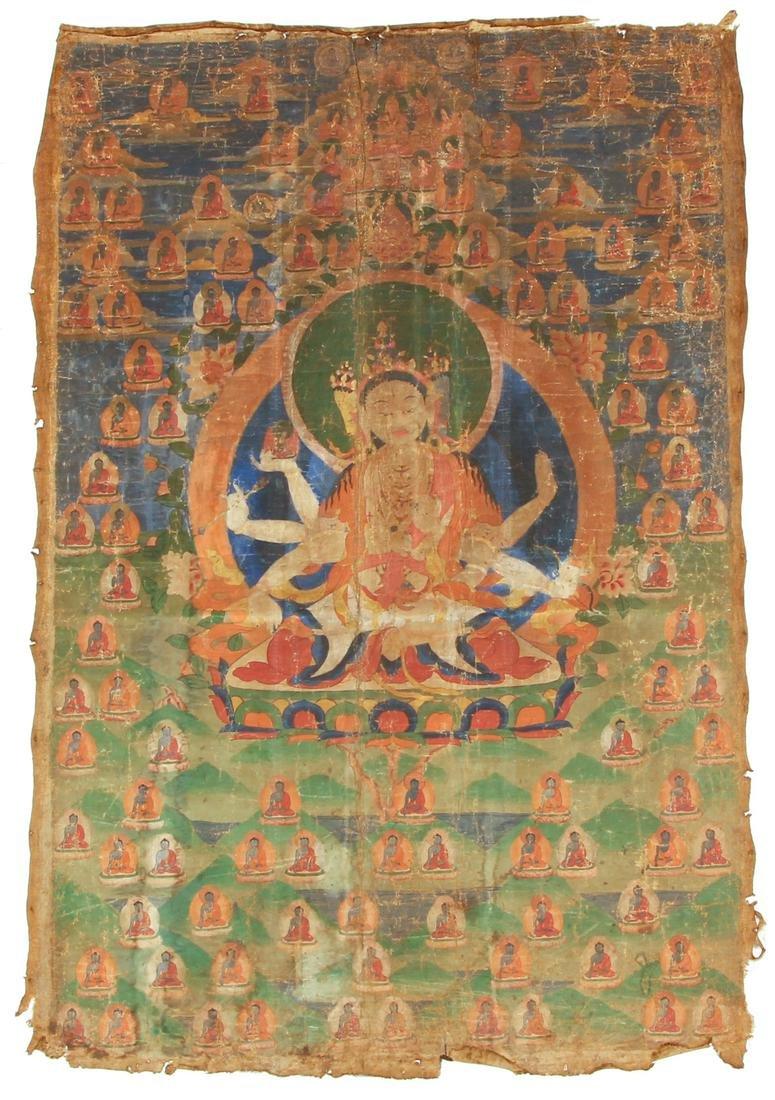 Large Tibetan Thangka Ushnishavijaya