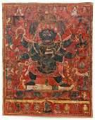 Tibetan Thangka Six Armed Mahakala