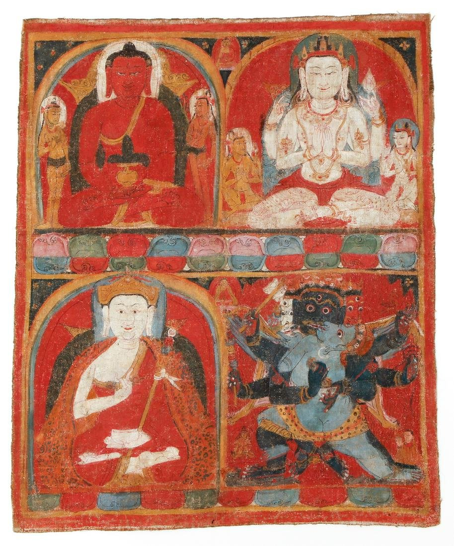 Tibetan Thangka Four Figures Nyingma 1300s