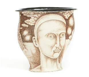 Chuck Aydlett Vase with Factory and Face