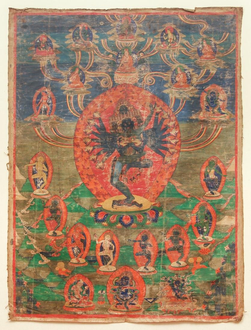 Hevajra with Deities and Protectors Thangka