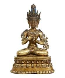 Tibetan Bronze Vairocana 14th cent Figure