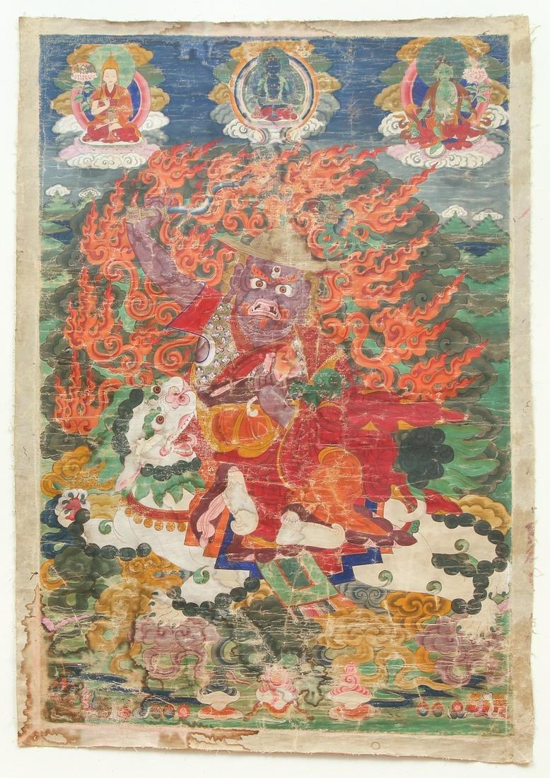 Dorje Shugden on Snow Lion Thangka