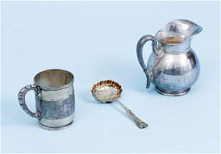 Tiffany 3 pc Sterling Pitcher Cup Spoon