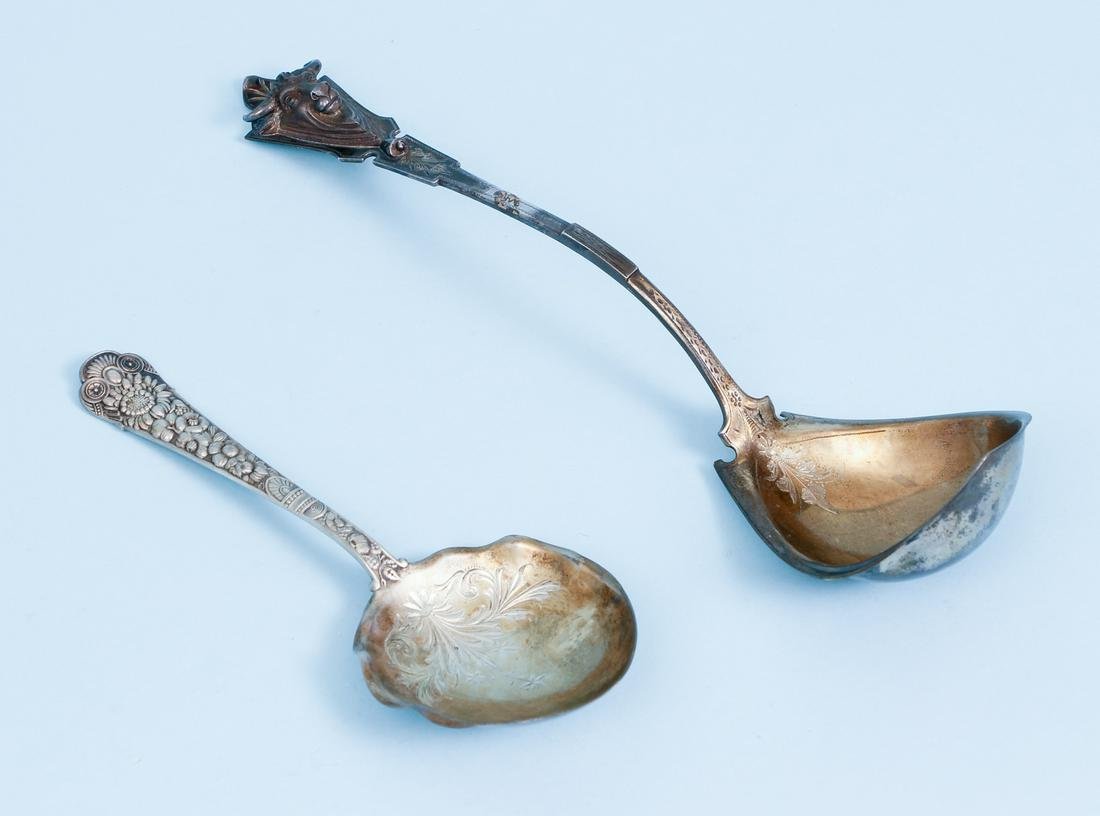 2 Large Sterling Serving Spoons
