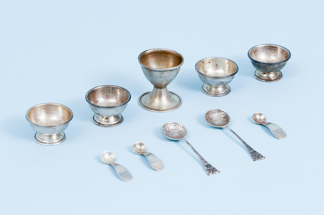 10pcs Mexican Sterling Cups and Spoons