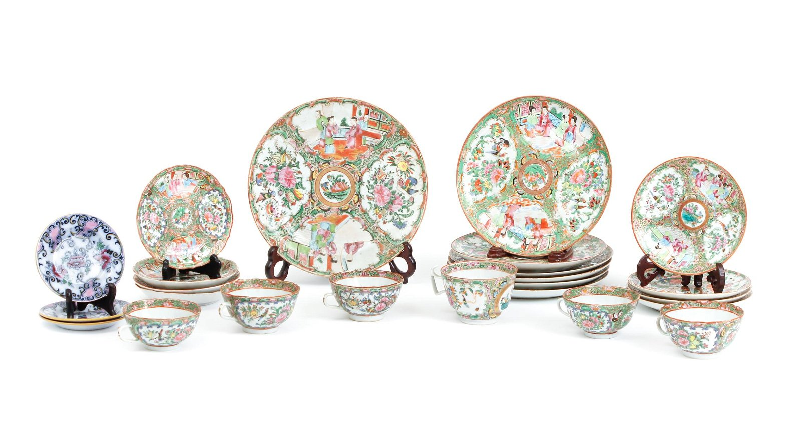 Chinese Famille Rose Dishes Cups