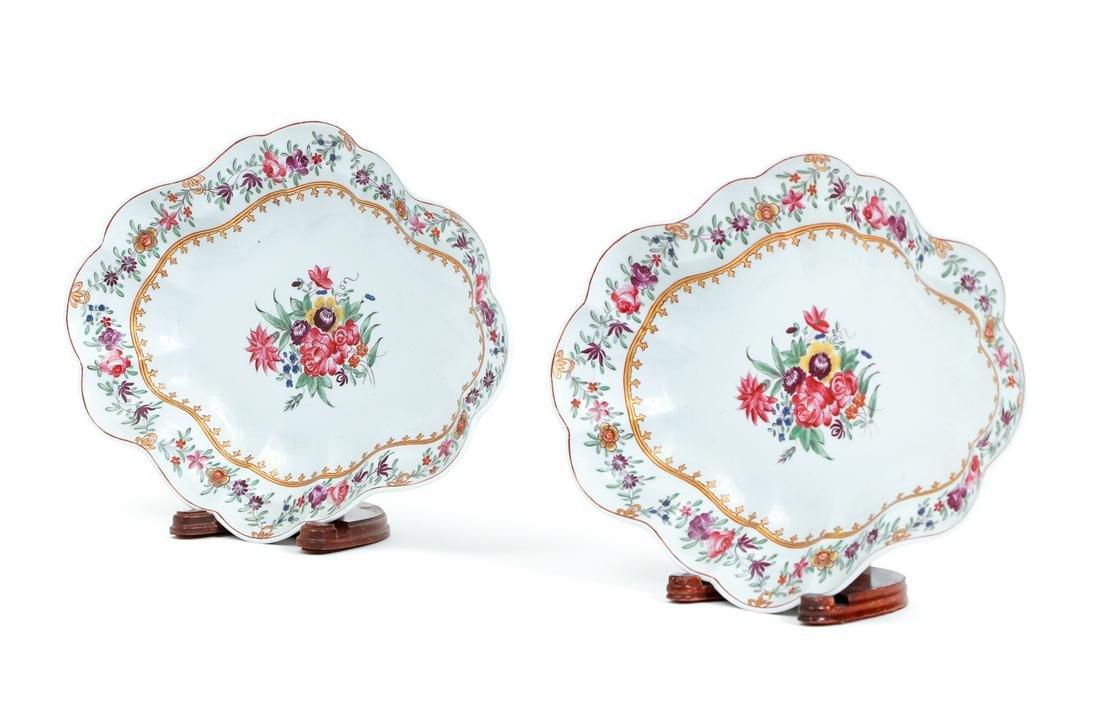 Pair Chamberlain Painted Porcelain Platters