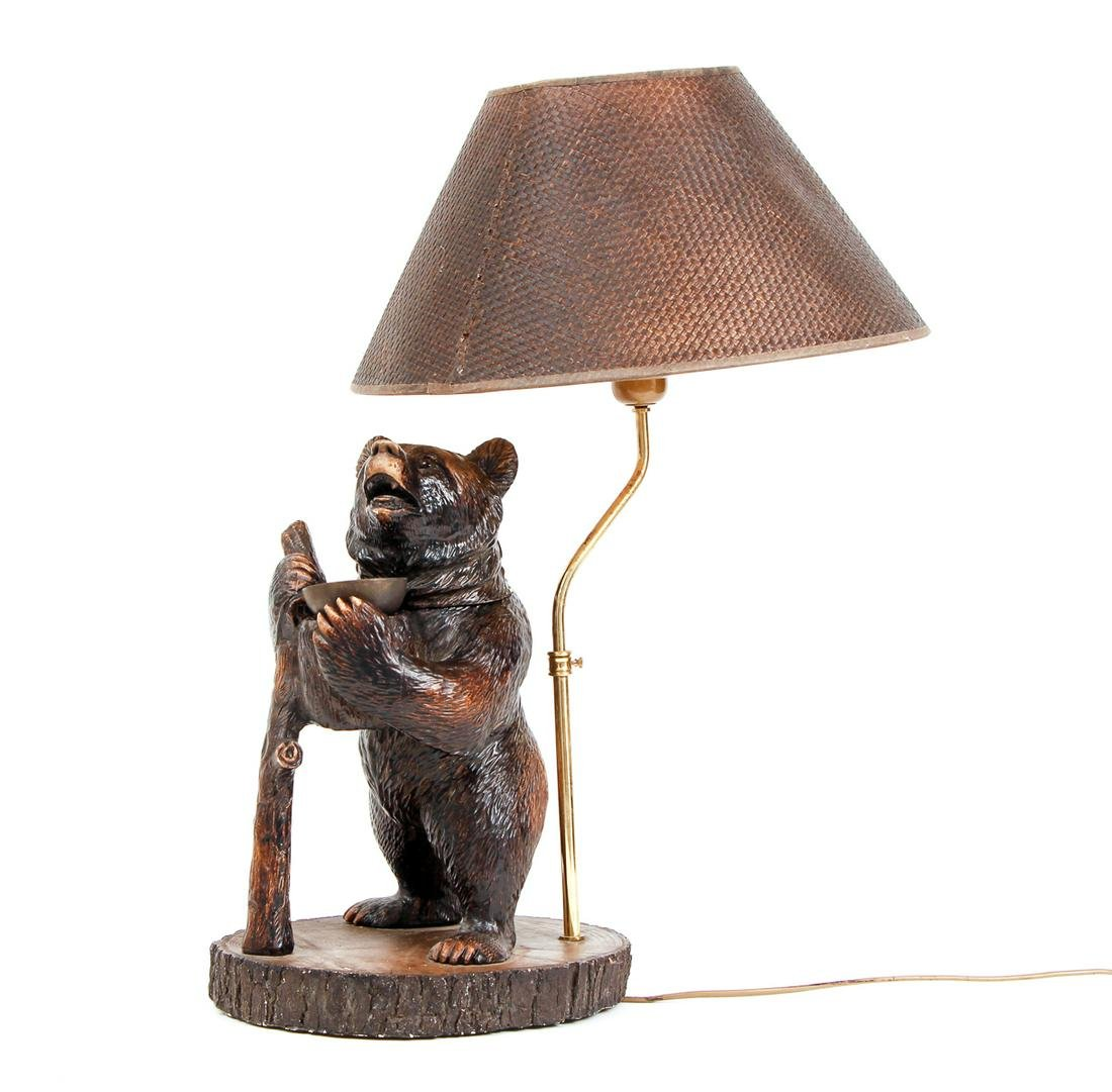 Faux Wood Bear Lamp with Shade