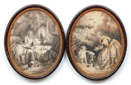 Pair Oval Engravings Mother Child Dogs