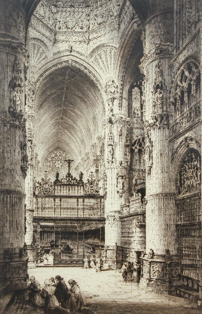 Albany E Howarth Large Cathedral Etching