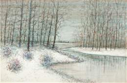 Raphael Senseman Winter Landscape watercolor
