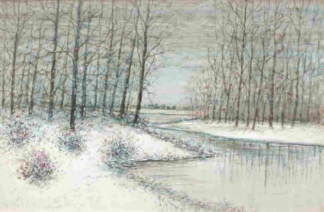 Raphael Senseman Winter Landscape watercolor