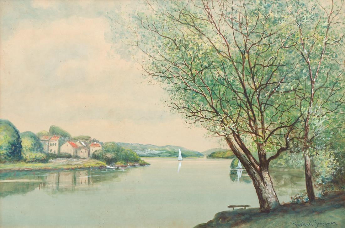Raphael Senseman Summer Lake Landscape watercolor