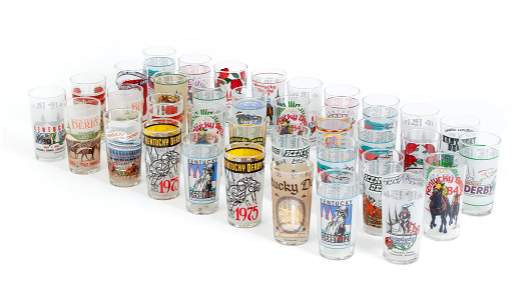 Collection of 36 Kentucky Derby Glass Tumblers
