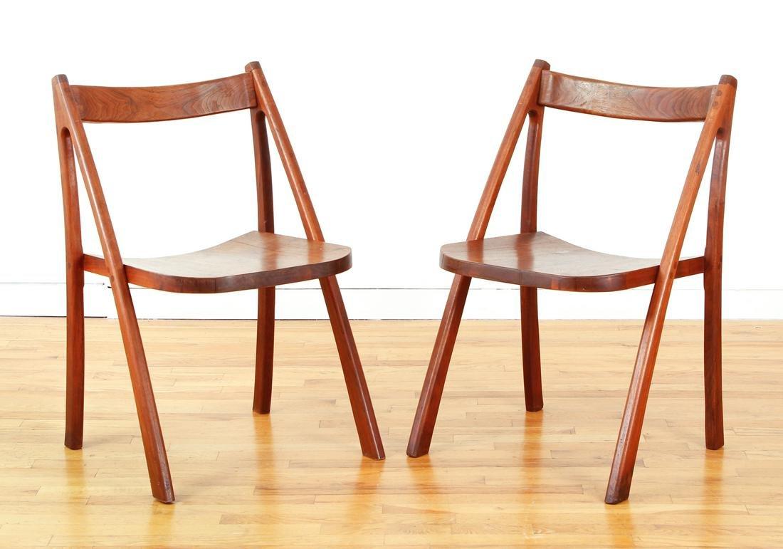Pair Mid Century Wood Chairs