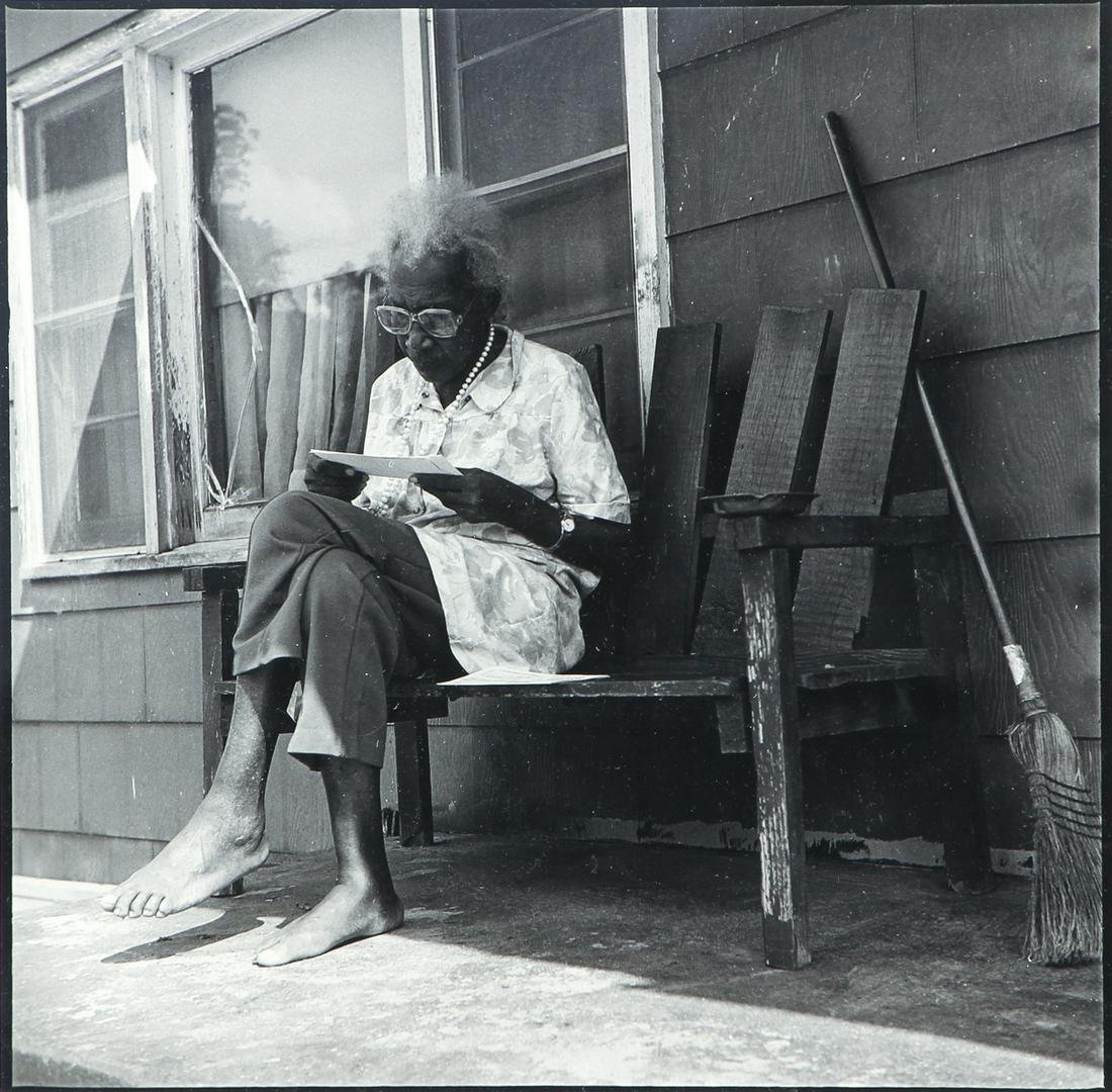 Photograph Woman on Porch with Letter