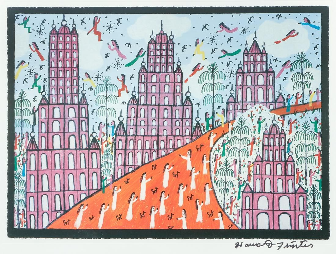 Howard Finster Signed Litho Folk Art