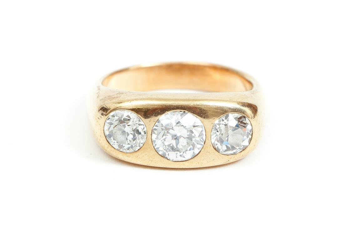 Antique 14K Gold Gents Diamond Ring