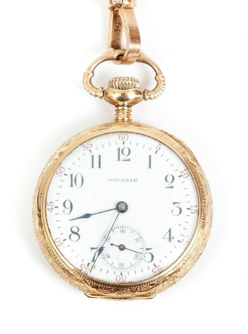 Ladies 14K Waltham Pocket Watch and Chain