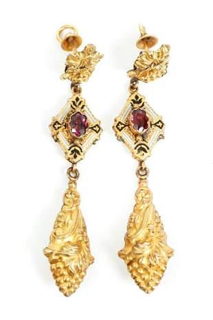 Victorian 10K Gold Statement Earrings