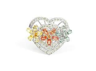 18K Diamond and Topaz Heart Ring