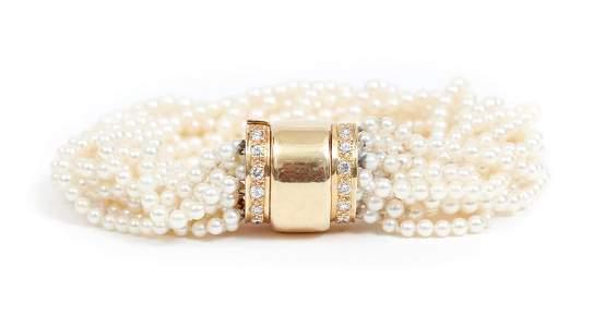 14K Gold Diamond and Pearl Bracelet