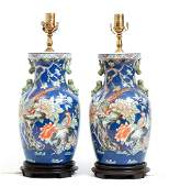 Pair Famille Rose Vases converted to Lamps
