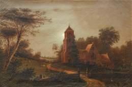American mid 19th Century Moonlit Churchyard