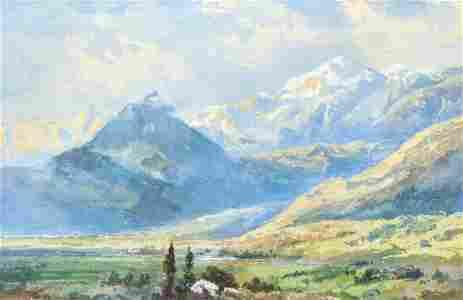 Regis Gignoux Villeneuve Watercolor Switzerland Ptg