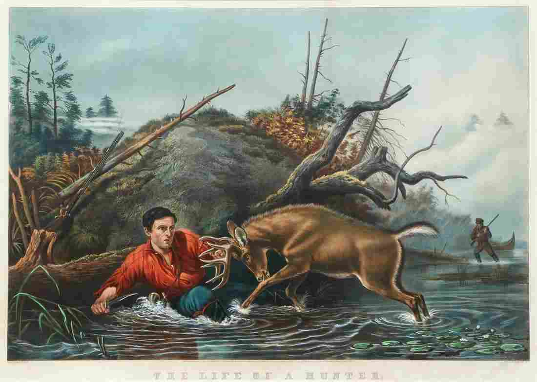 Currier Ives Catching a Tartar Hunter Colored Litho