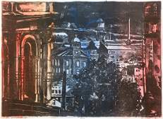 Bob Qualters hand colored litho From Polish Hill