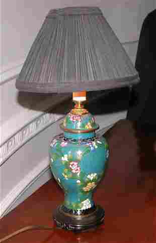 Chinese Cloisonné Vase Shaped Lamp
