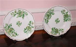 Pair of English Hand-painted Creamware plates