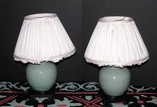 Pair of Chinese Celadon Boudoir Lamps