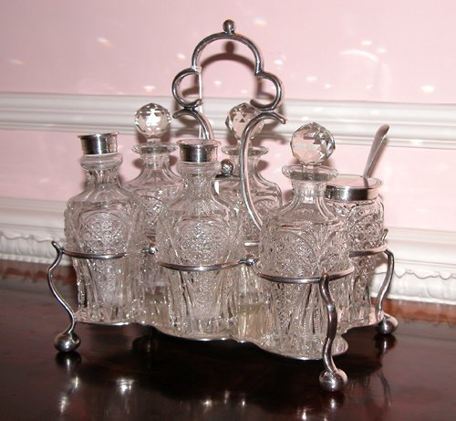 8: Sheffield Silver Plate and Cut Glass Caster Set