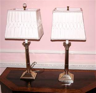 Sheffield Silver Plate Candlestick Lamps