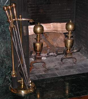 Pair of Cannonball Brass Andirons