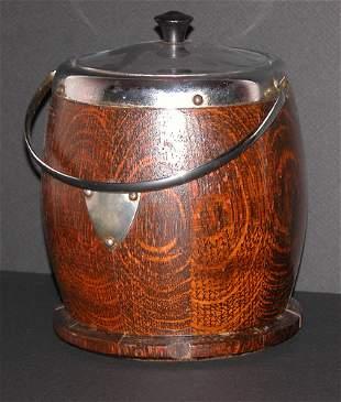 Oak and Metal Mounted Biscuit Barrel