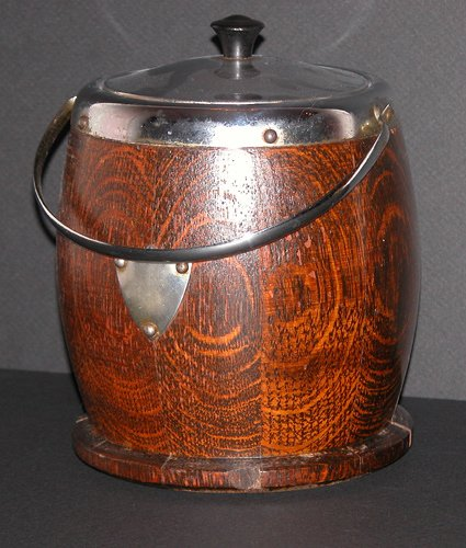 21: Oak and Metal Mounted Biscuit Barrel