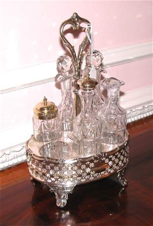 English Silver Plate and Cut Glass Caster Set