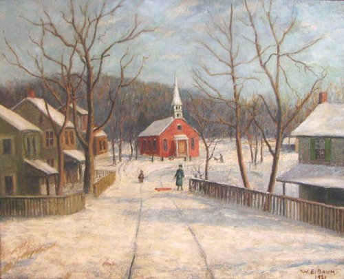 8: Walter E. Baum  painting The Red Church in Winter