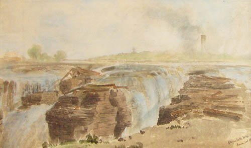 17: Russell Smith Glen's Falls, NY 1848 watercolor