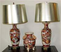 65 Pair of Oriental Earthenware Table Lamps with vase