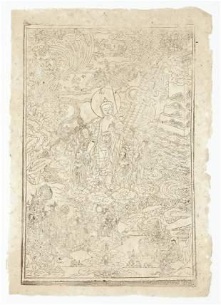 Buddha Shakyamuni Xylograph Woodcut