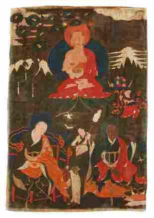 Tibetan Thankga of Three Arhats