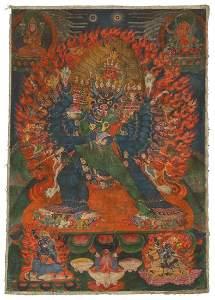 Tibetan Thangka Wrathful Vajrabhairava