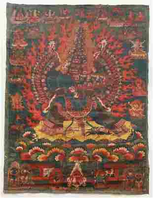Large Tibetan Thangka Mahottara Heruka