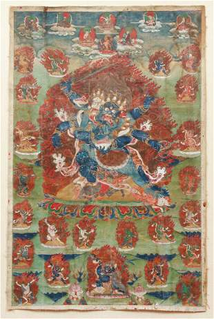 Tibetan Thangka Six-Armed Mahakala