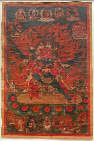 Tibet Thangka Hayagriva Horse-Necked One